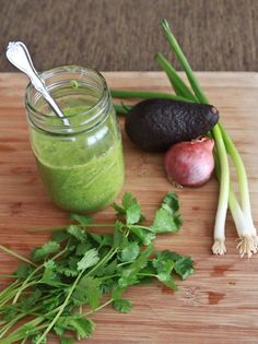 Avocado, Cilantro, Lime Dressing - insanely good, I could eat this with a straw!!