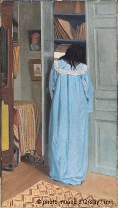 Félix Vallotton Intérieur, femme en bleu fouillant dans une armoire en 1903 huile sur toile H. 0.81 ; L. 0.46 musée d'Orsay, Paris, France ©photo musée d'Orsay / rmn
