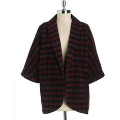 Olive & Oak Plaid Oversized Open-Front Jacket found on Polyvore featuring…
