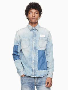 c0fbe8bff73 Calvin Klein patched denim utility shirt Denim Shirt Men