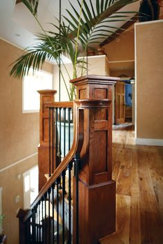 The Craftsman-style stair rails were a challenge for Côté. A true perfectionist, the builder made several tries before getting the details exactly right.