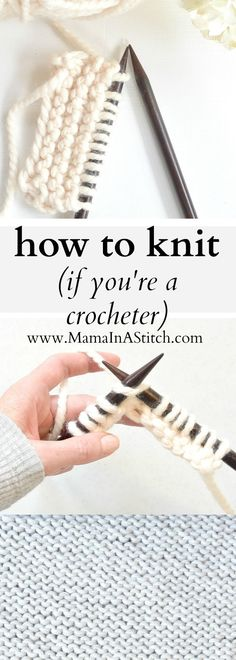 How To Knit (If You Crochet) via Mama In A Stitch Knit and Crochet Patterns - Jessica This knitting tutorial will show you how to knit. It uses a method where you'll hold the yarn similarly to how you hold it with crochet. Source by tutorial Loom Knitting, Knitting Stitches, Knitting Needles, Knitting Patterns Free, Crochet Patterns, Crochet Tutorials, Tutorial Crochet, Knitting Ideas, Crochet Instructions