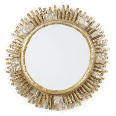 "LINE VAUTRIN ""COLBERT"" MIRROR incised LINE VAUTRIN XI talosel and mirrored glass 23 1/4 in. (59.1 cm) diameter circa 1960"