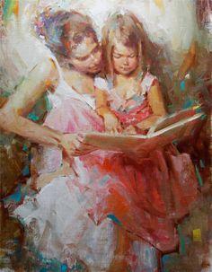 Hora dos contos  Kevin Bielfuss ( EUA, ) óleo sobre tela, 45 x 60cm www.kevinbielfuss.com