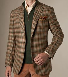 Paul Stuart Brown Multi-Check with Pumpkin Windowpane Sport Jacket