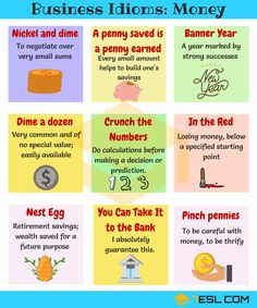 Money Idioms & Sayings! Learn common expressions, sayings and idioms about Money and Finance in English with meaning, ESL picture and examples. English Idioms, English Phrases, English Tips, English Study, English Lessons, English Vocabulary, English Grammar, Learn English For Free, Learn English Words