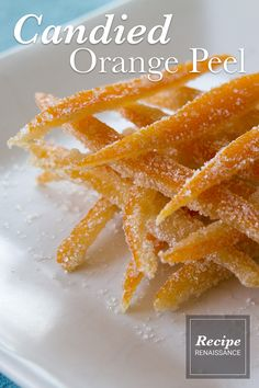 Candied orange peel -- an old fashioned, easy to make sweet treat that's all natural. Makes a great gift, too. Old Fashioned Candy, Candied Orange Peel, Onion Rings, Baking Pans, Sweet Treats, Snacks, Fruit, Natural, Breakfast