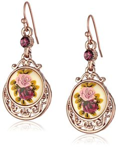 1928 Jewelry Rose Gold Amy Flower Dangle Earrings ** Click image to review more details.