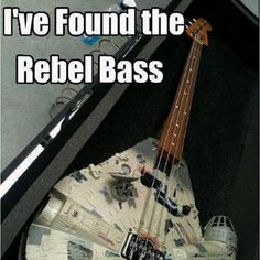 Millenium Falcon - The Rebel bass guitar - Guitar shaped like Millenium Falcon - a spaceship of Han Solo from Star Wars. Star Wars Meme, Star Wars Film, Funny Star Wars, Intelligent Design, Super Memes, All Meme, Millenium Falcon, Guitar Pics, Guitar Solo
