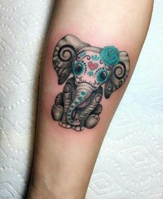 51 Exceptional Elephant Tattoo Designs & Ideas - Day of The Dead elephant tattoo by Barythaya - Best Sleeve Tattoos, Mom Tattoos, Trendy Tattoos, Forearm Tattoos, Body Art Tattoos, Tattoos For Women, Tattoos For Guys, Celtic Tattoos, Tatoos