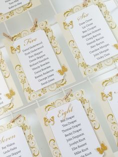 Butterfly table plan cards in gold and Ivory. Available in any colour