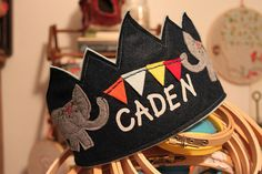 Boy Elephant Banner Birthday Crown by maureencracknell on Etsy Princess Party Favors, Disney Princess Party, Birthday Party Favors, First Birthday Parties, First Birthdays, Cinderella Party, Diy Birthday Crown, Leo Birthday, Circus Birthday