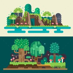 Illustration of Tropical and forest landscapes: stones lake flowers trees grass bushes mushrooms. Vector flat illustrations vector art, clipart and stock vectors. Illustration Design Plat, Illustration Plate, Forest Illustration, Landscape Illustration, Game Design, Design Food, Game Background, Textured Background, Flat Design Inspiration