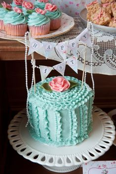 Vintage First Birthday Party Cake | ... party+pink+blue+mint+tea+party+british+vintage+cake+dessert+table  #shabbychic #PartyIdeas party food drink ideas #summer