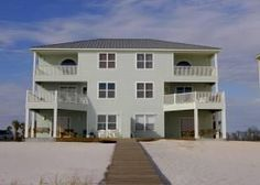 Jenny Lind is a Gulf-front duplex in the beachside subdivision, Nordic Villas on Romar Beach approximately 4.8 miles east of Highway 59 in Orange Beach. This three level five bedrooms 5.5 baths on eac...