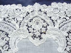Antique Fine Brussels Bobbin Lace Edged Bridal Hankerchief VGC 34cms Square | eBay