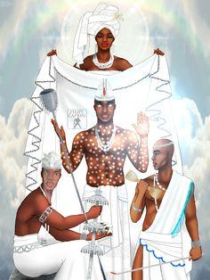Obatala, Yemoo, Ogiyan and Olufon by Felipe Caprini African Mythology, African Goddess, Obatala Santeria, Oya Orisha, Yoruba Orishas, Yoruba Religion, Yoruba People, Aztec Warrior, Africa Art