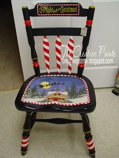 Lake Girl Paints: Whimsical Christmas Chairs - The base coat of red went on quick … because there was already a nice wood base. Description from pinterest.com. I searched for this on bing.com/images