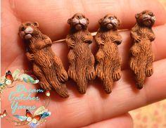 "2 Beads Sea OTTER 3D Ceramic Beads 1 3/16"" x 3/8"" Hand Painted Focal Jewelry #DreamCatcherYarns #Figure Pottery Animals, Sea Otter, Ceramic Beads, Otters, Dream Catcher, Polymer Clay, Hand Painted, Ceramics, 3d"