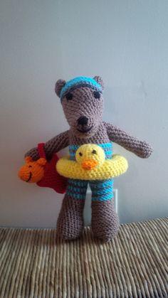 Crochet 12 Boy Beach Bear with Ducky Inner Tube by Silkwithasizzle