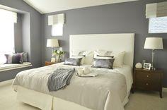 Gray purple feminine master bedroom