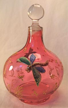 C. 1880 French/Bohemian Cranberry Art Glass Perfume Bottle w Enameled Dragonfly.