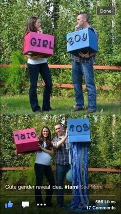 Awesome baby gender reveal idea :)