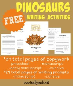 Kids will have fun using their creative juices with these Dinosaur Writing Activities. Includes copywork, writing prompts & Draw-then-Write prompts. 78 total pages :: www.inallyoudo.net
