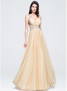 A-Line/Princess V-neck Floor-Length Chiffon Prom Dress With Beading Appliques Lace Sequins (018070356)