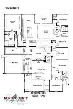 New homes in Vista, CA at Quintessa. Single story homes. Floor Plan 4