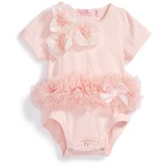 Popatu Floral Tutu Bodysuit (Baby Girls) (€26) ❤ liked on Polyvore featuring baby girl