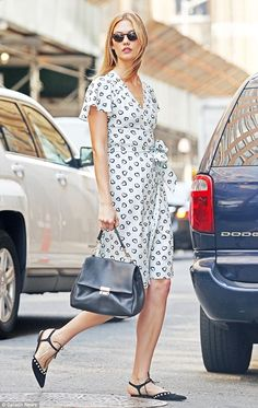 Karlie Kloss wears cute love pattern wrap dress as she visits her Kode With Klossy scholarship students   Daily Mail Online