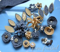Felt Flowers w/ links to tutorials plus she covers a straw wreath with an old sweater. Great blog!