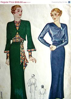 Sale FF Vintage 1930's Sewing Pattern 1576  GLAMOROUS by anne8865, $57.80