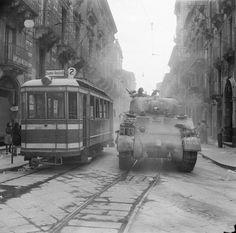 A Sherman tank in Catania, Sicily - Italy 1943