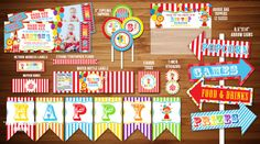 Printable Circus/Carnival Birthday Party Package   Circus Decorations   Digital   DIY   Party Decor   Banner   Cupcake Toppers   Favor Tag   Treat Bag Toppers   Candy Bar Wrappers   Invitation   Thank You Card   Signs   Food Labels   Stickers   www.dazzleexpressions.com