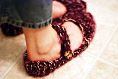 I might have to ask grandma Sharon for a pair of these cozy slippers, She is the knitting genie!