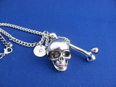 Skull and Bone Personalized Necklace Bone Necklace by LifeOfSilver, $43.00