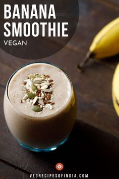 Want an easy smoothie recipe? Check out this banana smoothie recipe! This 3 ingredient smoothie is healthy and could be the base of many other smoothies like peanut butter banana, chocolate peanut butter banana, or even healthy strawberry banana. Try this delicious recipe today! #vegan #drinks #worldcuisine #homemade #bananasmoothie #breakfast #snacks Veg Smoothie Recipes, Diet Soup Recipes, Vegan Smoothies, Fruit Smoothies, Baby Food Recipes, Veg Recipes Of India, Indian Recipes, Smoothie Without Yogurt, Tasty Vegetarian Recipes