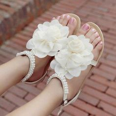 Shoes: details white light white sandals flat sandals summer outfits cute lovely cute floral floral