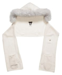 #Roberto Cavalli girlsivory hooded scarf with real fur trim. Made from a soft mid-weight knit, the scarf has mitten shaped pockets at either end to keep hands cosy and warm.£ 290,00