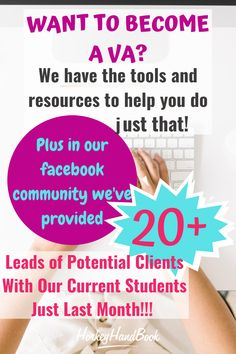 We created VA Leads as a way of helping new and established virtual assistants to grow their businesses. VA Leads is our exclusive community for current students and graduates of 30 Days or Less to Virtual Assistant Success who are SERIOUS about landing clients and growing their service-based businesses. VA Leads=Clients= Growth! Virtual Assistant, Landing, How To Become, Students, Success, Community, Led, Communion