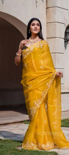 Half Saree Lehenga, Wedding Sari, Party Wear Sarees, Indian Sarees, Desi, Yellow, How To Wear, Color, Style