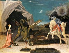 Paolo Uccello, Saint George and the Dragon, c. oil on canvas. Canvas Art Prints, Oil On Canvas, Dragon C, Renaissance Kunst, Saint George And The Dragon, Web Gallery Of Art, Harvard Art Museum, Harry Potter Art, Weird Art