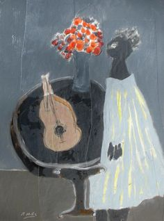 Gigi Mills, Girl with Guitar and Orange Flowers  Gallery Orange http://gallery-orange.com/tag/gigi-mills/
