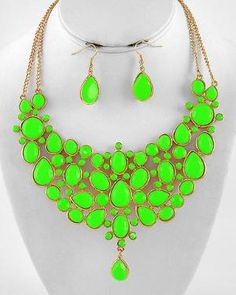 Living the Highlight Neon Green Bib Statement Necklace. HAVE THIS IN MULTI. ALREADY SOLD.