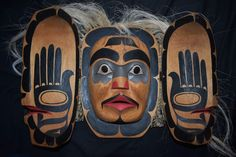 "orig $799 NORTHWEST COAST TRANSFORMATION MASK, HAND TIED HAIR 22"" SIGNED"