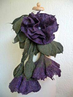 felted flower necklace-felt-lariat-wool-handmade-handcrafted-felted ar to wear-inken gaddass-filz-felting-blume-flower | Flickr - Photo Shar...