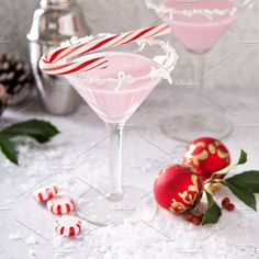 Peppermint martini cocktail with coconut flakes rim by farwasser on @creativemarket