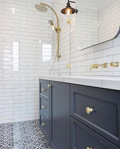 to decor bathroom towels decor with flowers decor ideas 2018 decor modern farmhouse decor joondalup wall decor decor flowers to buy bathroom decor Blue Bathroom Vanity, Navy Blue Bathrooms, White Bathroom Tiles, Blue Vanity, Bathroom Floor Tiles, Small Bathroom, Paris Bathroom, Colourful Bathroom Tiles, Bathroom Ideas